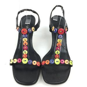 Vaneli Heels 7.5 N Buttons T-strap Leather Soles